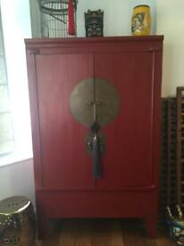 Chinese wedding cabinet. Orientalist wardrobe, media storage unit, linen cupboard.