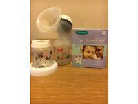 SET Manual breast pump + 23 breastmilk storage bags + bottle aditional by NUK