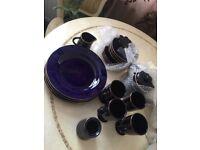 18 piece blue tea set - see description