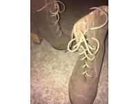 Victorian lace up brogue heeled boots