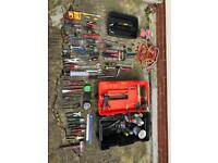 Various tools with tool box