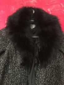 Vintage Black Tweed Long Coat with Fur Collar