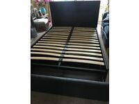 Black leather headbored and bedframe