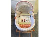 Mamas and Papas Jamboree Moses Basket with folding stand in Beech