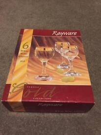 Wine glasses with gold band