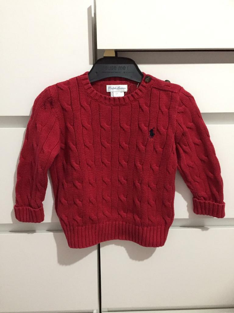 72c4c5eb57ac7 RALPH LAUREN Baby Red Cable Knit Jumper 12 Months Kids Boys Girls Unisex  Excellent Condition