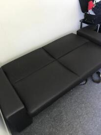 Brown leather sofa / bed