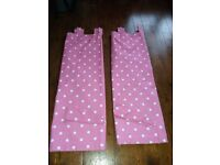 Kids pink and white spotty curtains