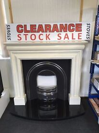 EX-DISPLAY FIREPLACE + FREE DELIVERY marble surround black curved hearth multi fuel stoves also