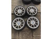 Genuine BMW MV4 Alloy Wheels with Tyres - no cracks - E92 E93 M3 - Dunlop Sportmaxx