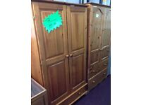 pine double wardrobe with a storage drawer at the bottom for sale