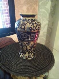 Gorgeous patterned white and blue vase