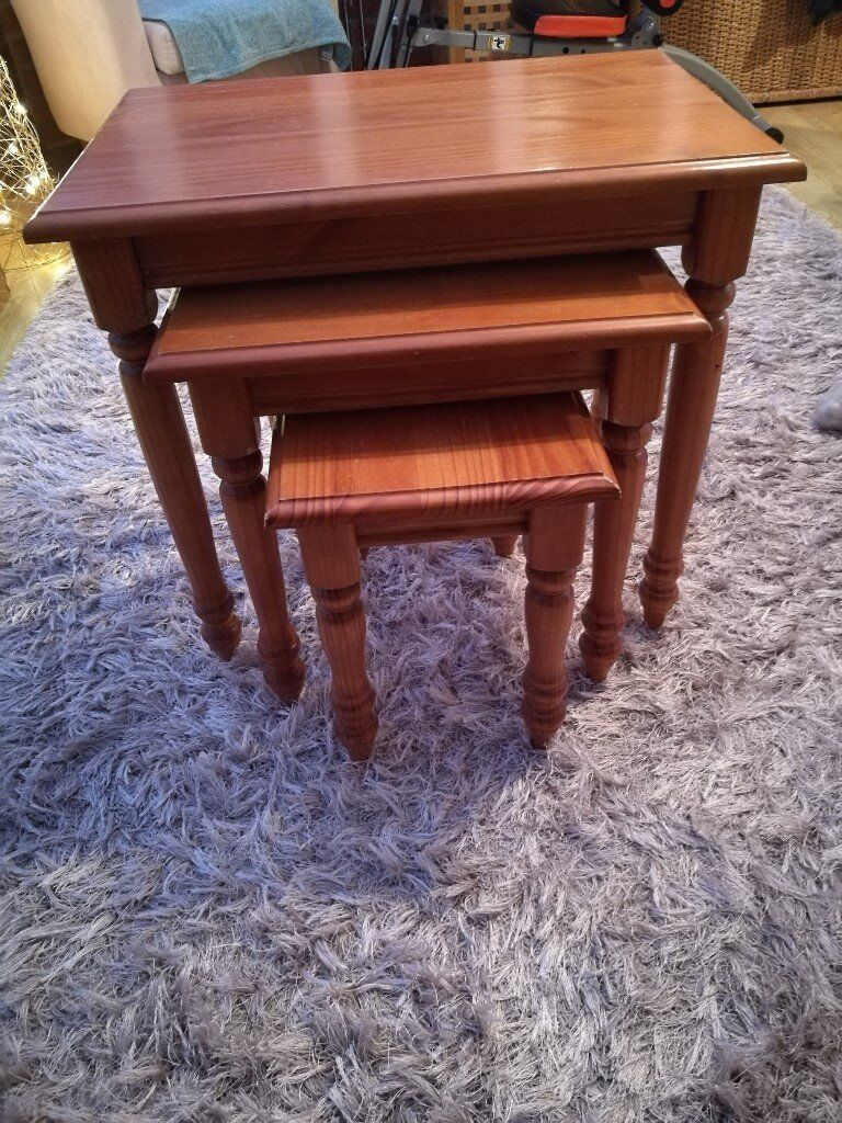 Wooden Nesting Of Three Tables Tv Snack Antique Pine Effect