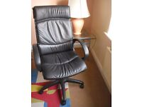 Adjustable black leather desk/computer chair