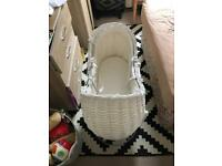 Beautiful white Moses basket with swivel stand