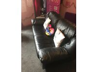 FREE 3 SEATER FAUX BLACK LEATHER SOFA