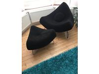 ROM Chili Chair & Footstool in black, in excellent condition from a smoke & pet free home