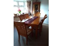 Dining Table & Chairs and Display Cabinet