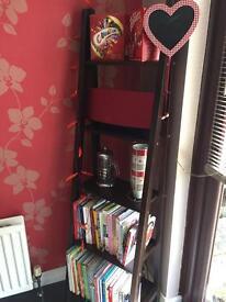 Dark brown ladder book case/shelving unit