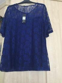 Top from m&co brand new still with tags on royal blue with a navy vest underneath size 18
