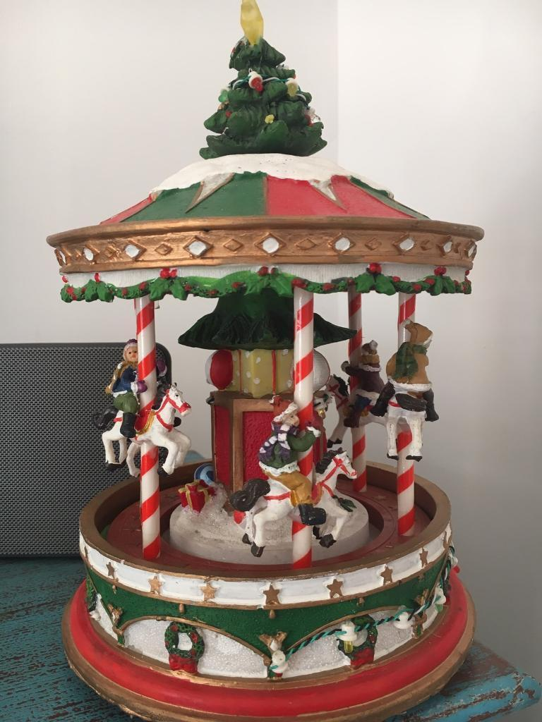 musical moving christmas carousel decoration