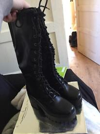 Size 3 chunky heal calf boots with laces