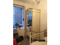 Beautiful shabby chic large French armoire wardrobe - less than 1 year old