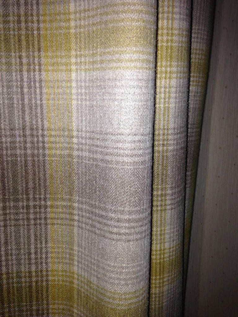 Next Ochre Yellow Grey Cosy Check Eyelet Curtains