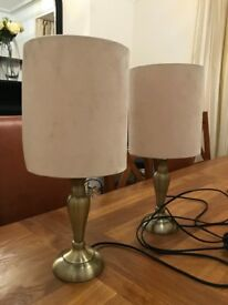 Bedside lamps in antique brass with 4 matching shades