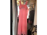Coral pink - chiffon dress