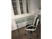 John Lewis glass desk and cream chair