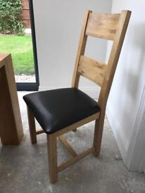 Solid Oak veneered dining table & 8 chairs