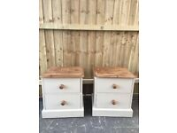 BEDSIDE CABINETS Solid Pine PAINTED farmhouse country Style.