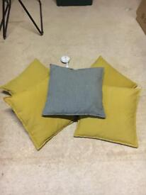 Yellow and grey cushions (x5)