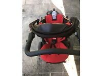 Phil and Teds Dot double pushchair with red liners