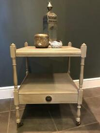 Annie Sloan Hand Painted Shabby Chic Side Table on Castors