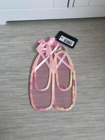 Pink ballet shoes, metal jewellery holder bnwt