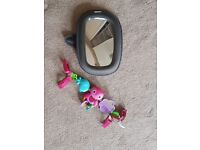 Car seat toy bar and mirror