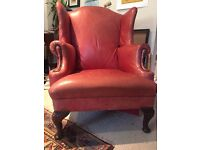 URGENT SELLING: Winged back vintage leather chair