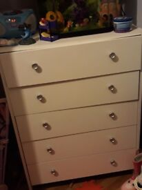 Chest of drawers. White. As new.