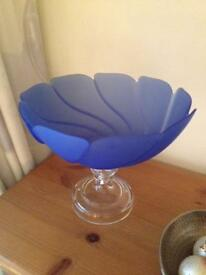 "Very Attractive Italian Frosted Blue Glass ""Open Fan"" Style Short Stemmed Bowl"