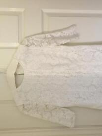 White Reiss designer lace top / blouse size 10