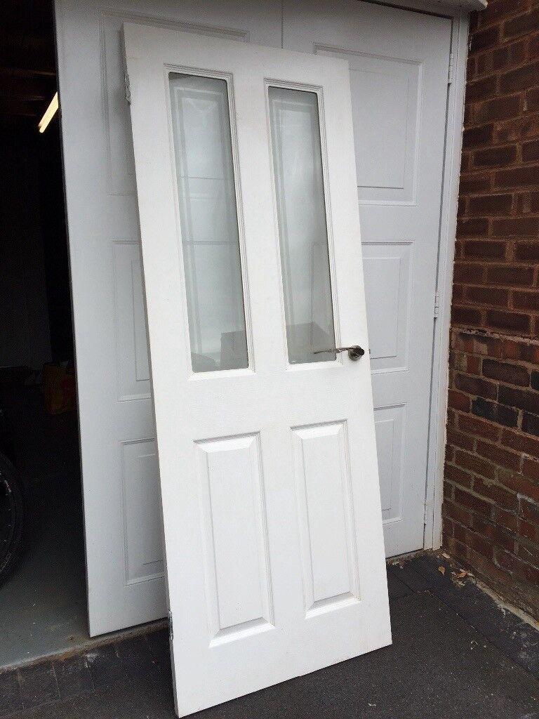 Internal Wooden Door Half Wood Half Glass 78x30 In