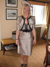 Condici Gold and Black Silk Dress and jacket, Optional fascinator, new shoes