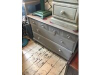 CHEST OF DRAWERS STAG MINSTREL GLASS HANDLES PAINTED FRENCH GREY