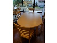 Beech Dining Table and four matching chairs