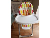 Cosatto Noodle Reclining Highchair with 6 height settings. 6 months plus