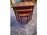 Wooden Nesting of Three Tables TV Snack Tables