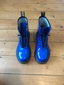 Superb Dr Martin Original Boots in gloss blue - UK Size 3