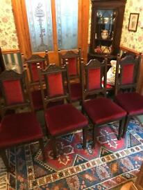 6 wooden dining chairs, red velvet upholstery